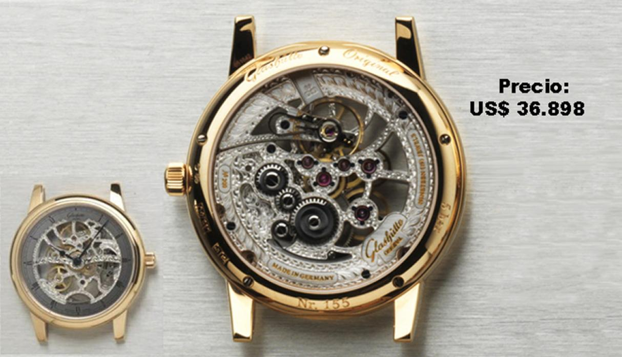 GLASHÜTTE ORIGINAL – Senator Manual Winding Skeletonized Edition. Su trabajo de esqueleto sigue un patrón tradicional, aunque adaptado a la exclusiva arquitectura de los calibres sajones, como vemos en el ajuste de cuello de cisne del órgano regulador.  C